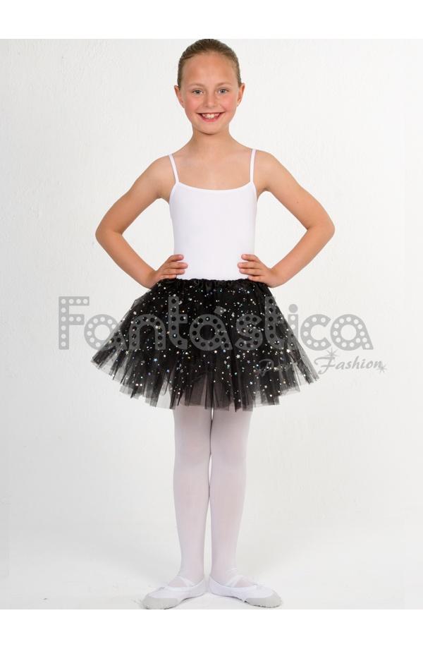 8814bc285 Tutú para Ballet y Danza - Falda de Tul para Niña y Mujer Color Negro con  Brillantitos Strass