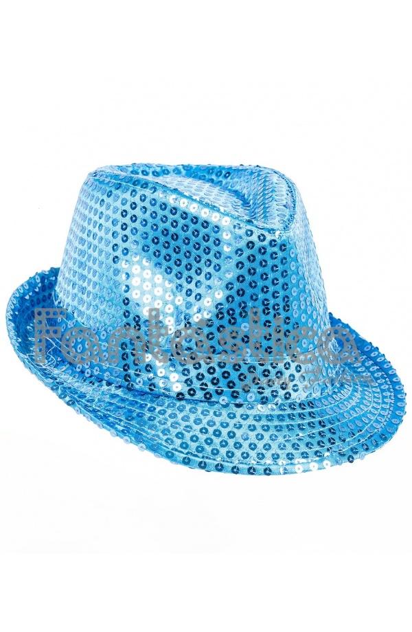 15608f1ee3cb2 Sombrero de Fiesta para Disfraz con Lentejuelas Color Azul Claro
