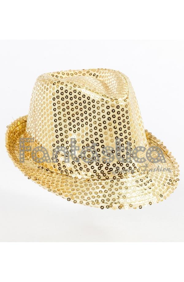 Sombrero de Fiesta para Disfraz con Lentejuelas Color Dorado