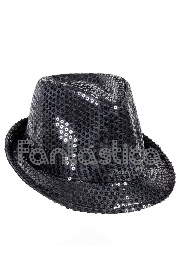 Sombrero de Fiesta para Disfraz con Lentejuelas Color Negro 16e467371ee