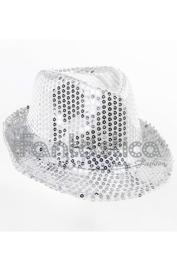 80d063038316f Sombrero de Fiesta para Disfraz con Lentejuelas Color Plateado