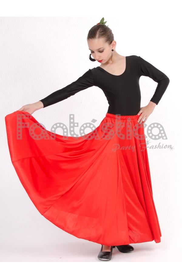 7b1e79f51a Falda de Flamenca   Sevillana para Niña y Mujer Color Rojo Lisa