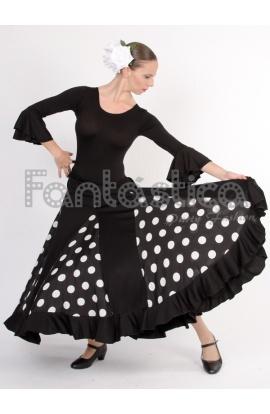 712e11e2f Falda de Flamenca / Sevillana para Mujer con Volantes y Lunares ...