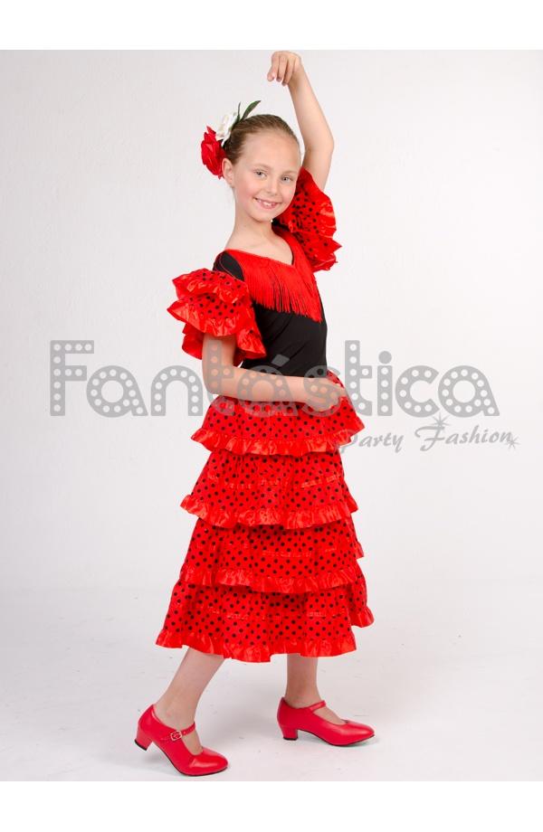 478e96265 Vestido de Flamenca / Sevillana para Niña Color Negro y Rojo con Lunares II