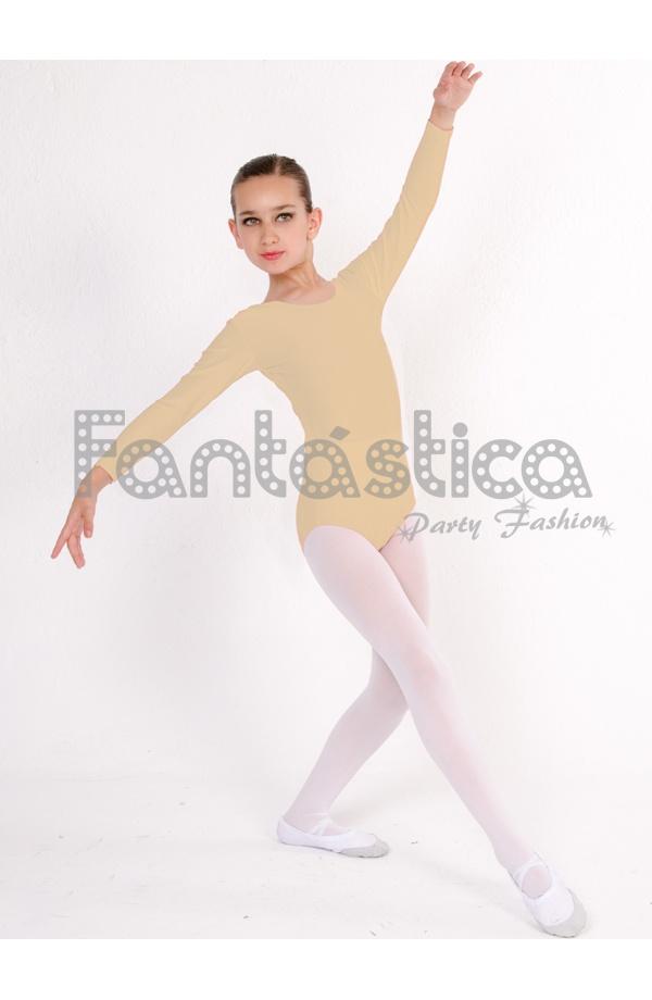 56c9a5765 Maillot de Danza   Gimnasia para Niña y Mujer Mangas Largas Color Piel