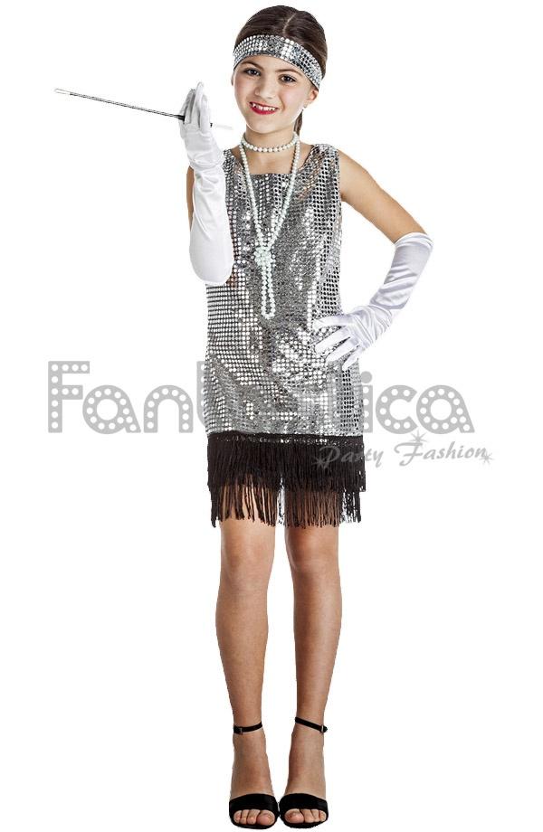 Disfraz Para Niña Bailarina De Charleston Plateado