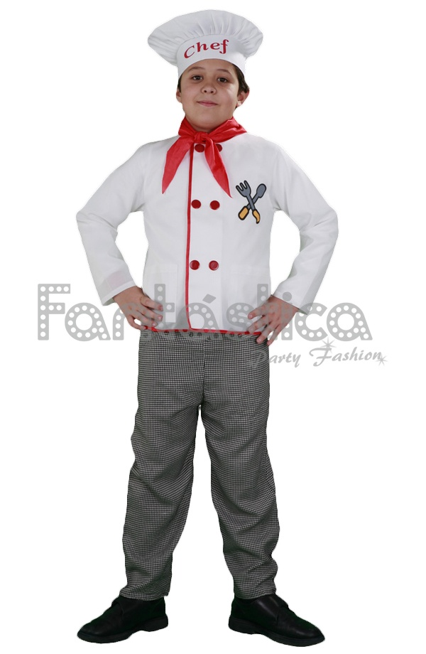 01d3a4d06a8 Disfraz para Niño Cocinero. Estupendo disfraz de Chef para niño que incluye  gorro, pañuelo, chaqueta y pantalón. Perfecto para Carnaval, Halloween, ...