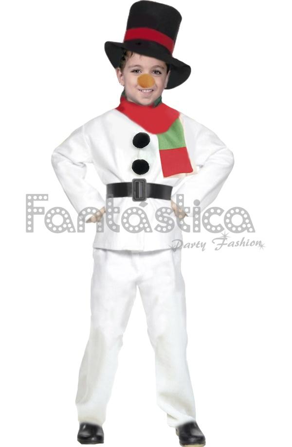 Disfraz para Niño y Niña Muñeco de Nieve. Bonito disfraz de muñeco de nieve  que incuye gorro a50ebe535d9