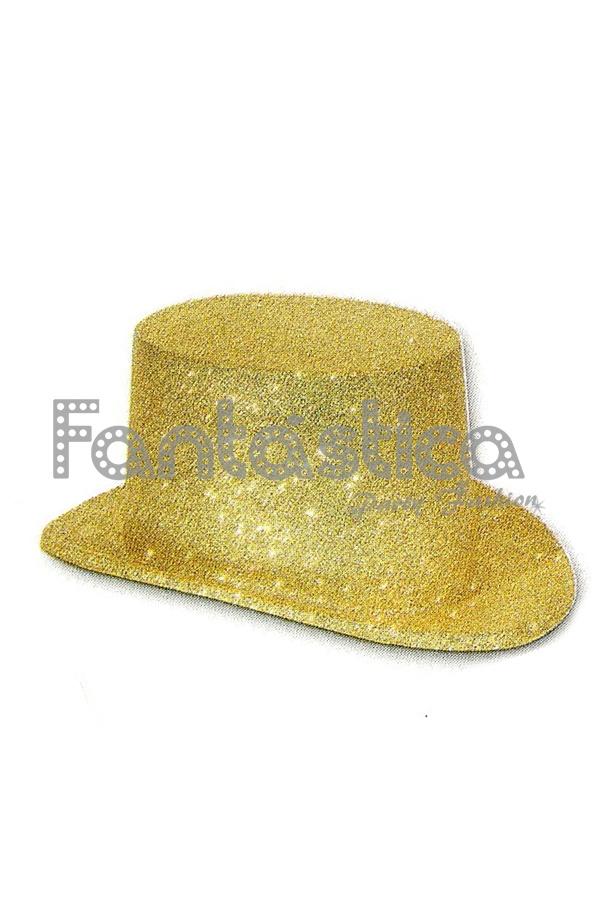 Llamativo sombrero de copa de purpurina para disfraz en color dorado.  Conocido también como chistera o galera 2a7468a1deb7