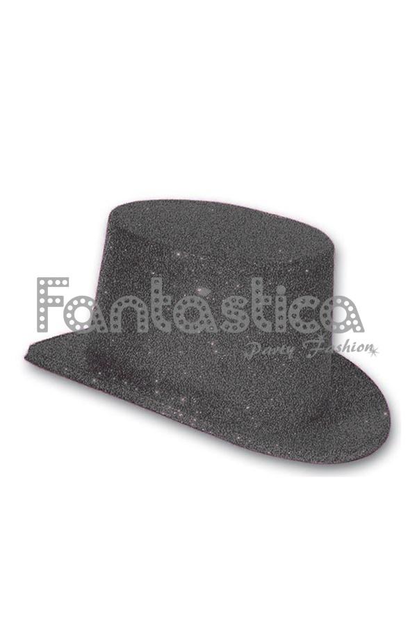 Sombrero de copa de purpurina para disfraz en color Negro. Conocido también  como chistera o galera f2235a3992dd