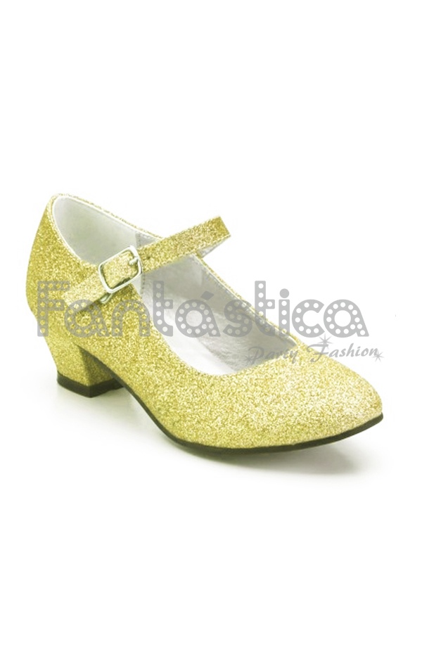 4e95868449 Preciosos Zapatos Color Dorado con Purpurina - Tallas para Niña y Mujer.  Complemento ideal para disfraces de Princesa