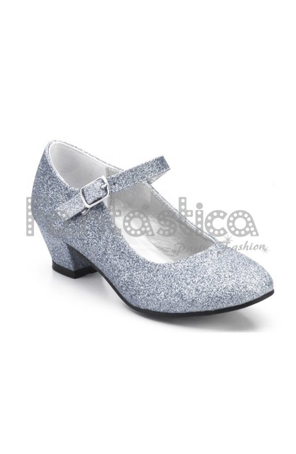 4a7bf3bd8 Zapatos Color Plateado con Purpurina - Tallas para Niña y Mujer