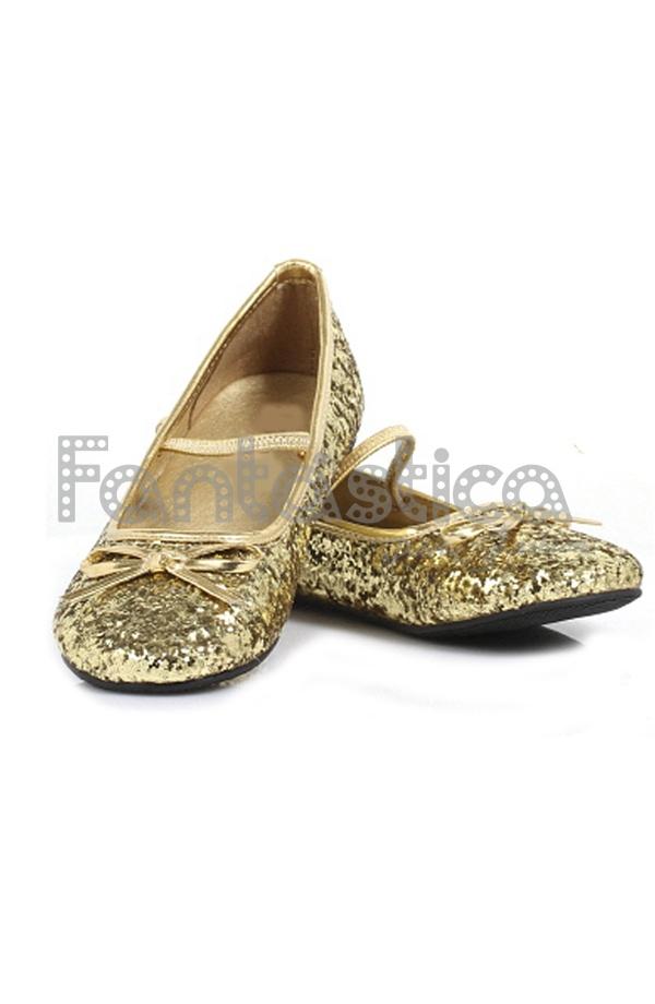 709571c98b78d Monísimas Bailarinas Color Dorado con Purpurina - Tallas para Niña y Mujer.  Complemento para disfraces de Princesa