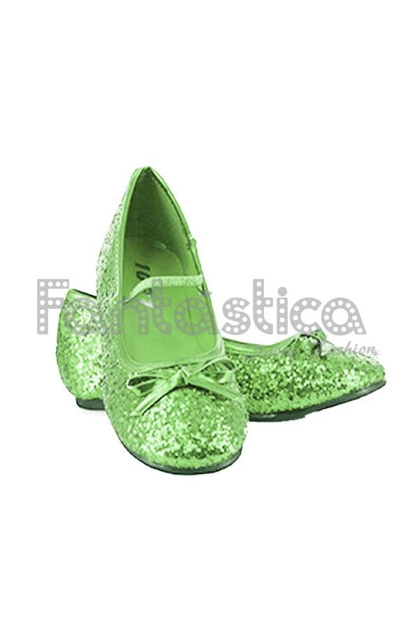 d8656bc057b1e Bailarinas Color Verde con Purpurina - Tallas para Niña y Mujer