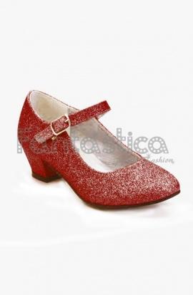 2e914e4b64267 Zapatos Color Rojo con Purpurina - Tallas para Niña y Mujer