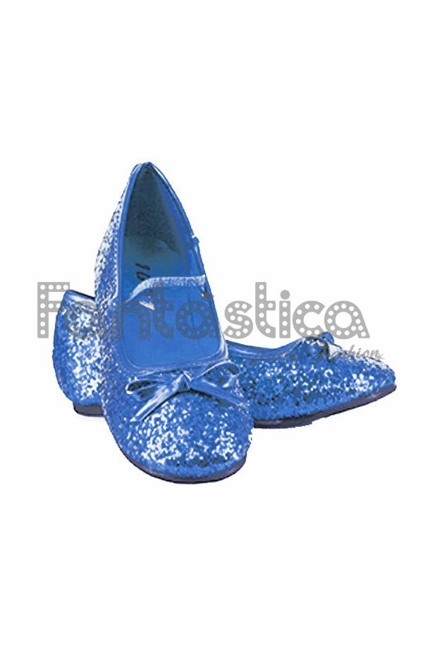 027144758 Bailarinas Color Azul con Purpurina - Tallas para Niña y Mujer