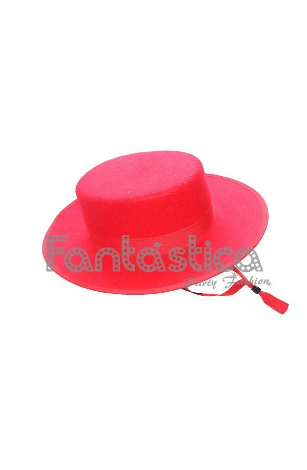 Sombrero Cordobés para Niño Disfraz de Andaluz Color Rojo II - Icono ... 65b8b632613