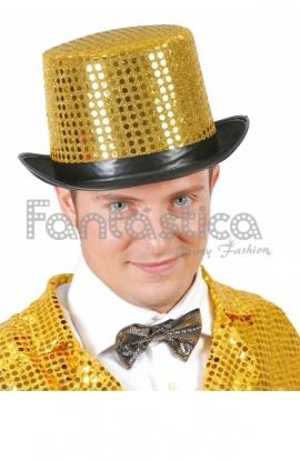 Sombrero de Copa de Lentejuelas para Fiesta o Disfraz Color Dorado 822e1283165