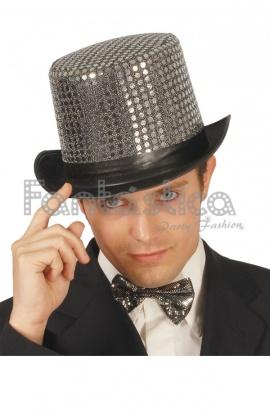 Sombrero de Copa de Lentejuelas para Fiesta o Disfraz Color Plateado 21e0255da25