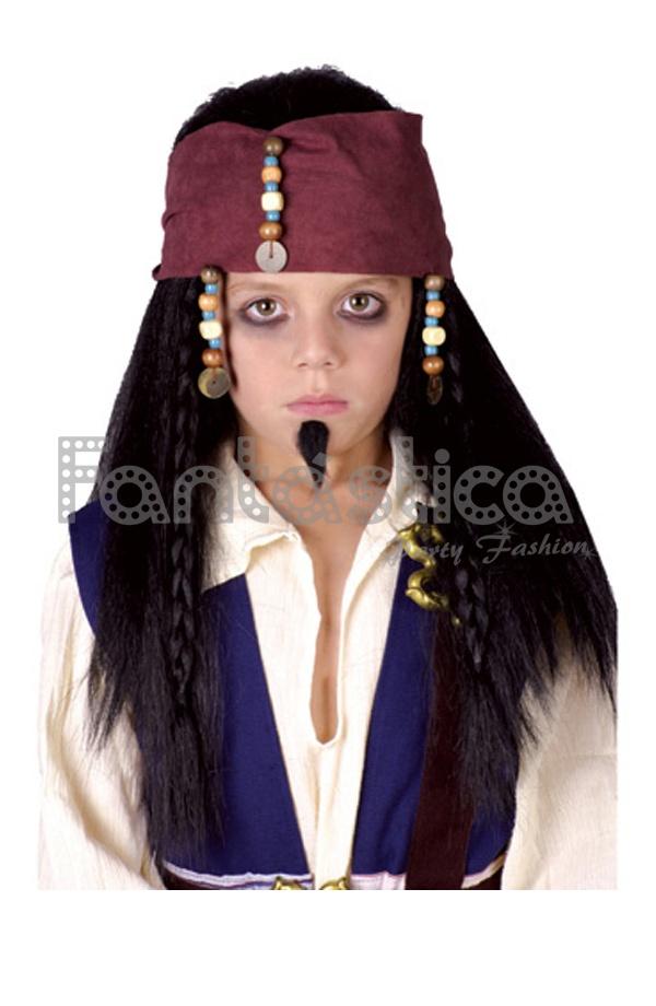 a01c80ab13927 Peluca Pirata para Niño - Peluca Jack Sparrow para Niño. Perfecta para  completar tu disfraz de Pirata del Caribe. Sensacional como complemento de  Halloween