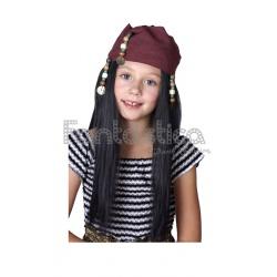7d218e3b14b1b ... Peluca Jack Sparrow para Niña. Perfecta para completar tu disfraz de  Pirata del Caribe. Sensacional como complemento de Halloween