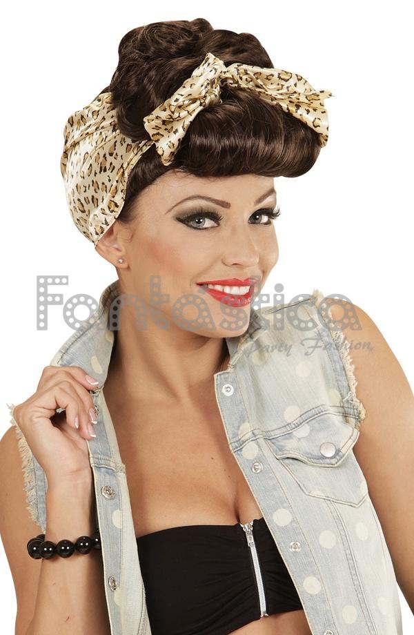 Peluca Pin Up Castaña Para Disfraz Años 50 Con Pañuelo