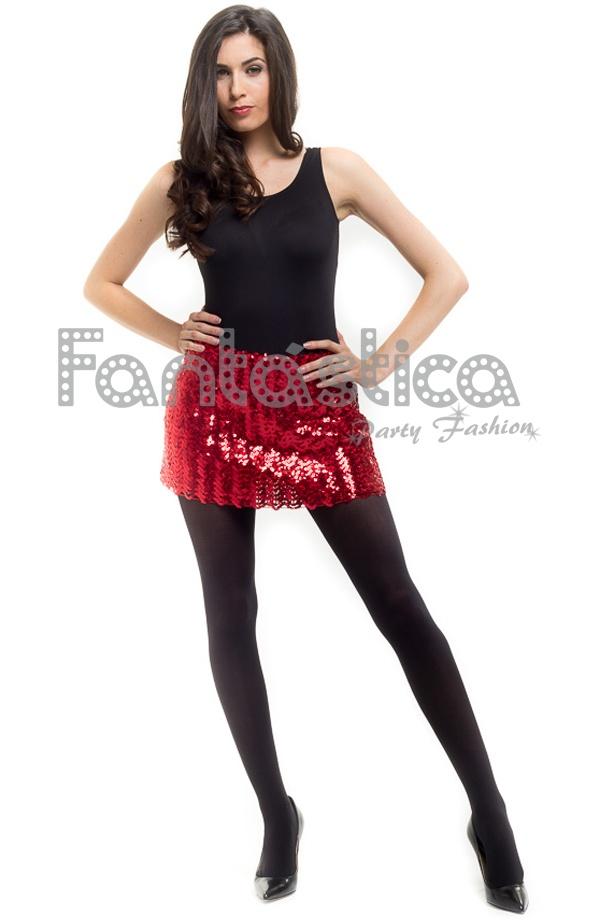 Preciosa falda de lentejuelas elastizada en color rojo para mujer. Un  modelo femenino 58f8c68c22fa