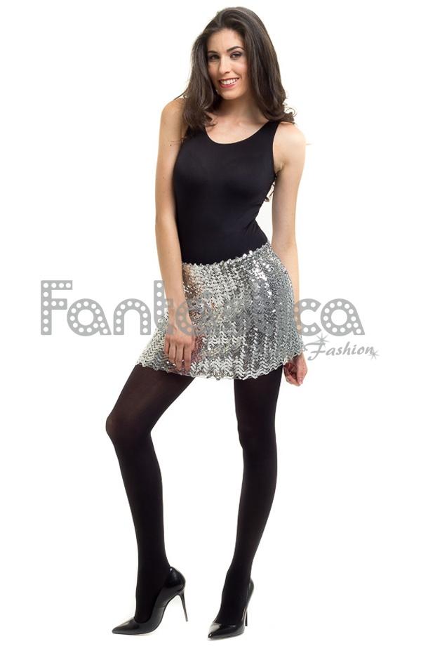59e0353bb0 Elegante y sofisticada falda de lentejuelas elastizada en color plateada  para mujer. Un modelo sexy y muy femenino ideal para resaltar tus curvas de  forma ...
