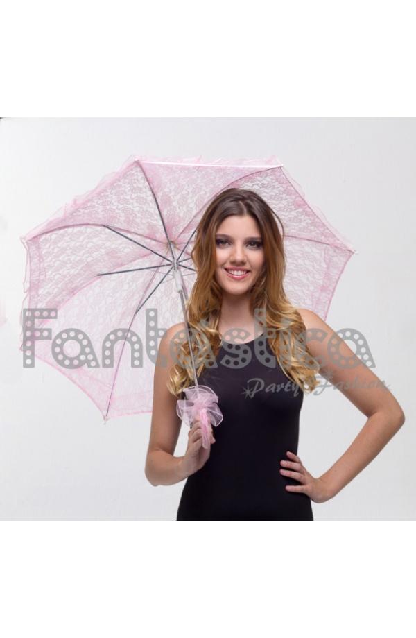 Sombrilla de encaje para mujer color rosa empolvado - Color rosa empolvado ...