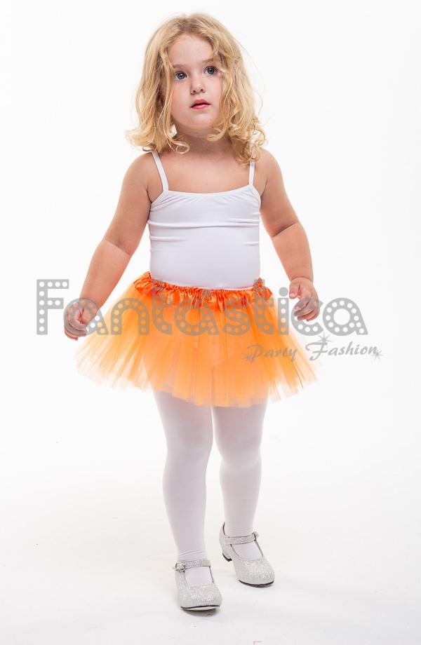 fb6e0725c Tutú para Ballet y Danza - Falda de Tul para Bebé y Niña Pequeña Color  Naranja. Precioso Tutú de tul Naranja para danza y gimnasia.