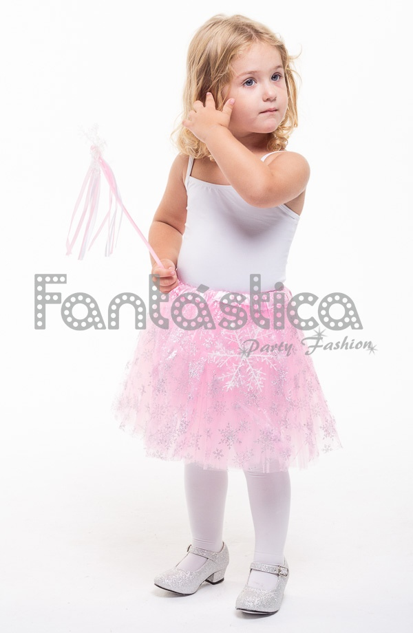 0af58b561 Tutú para Ballet y Danza - Falda de Tul para Niña y Mujer Color Rosa con  Copos de Nieve Brillantes