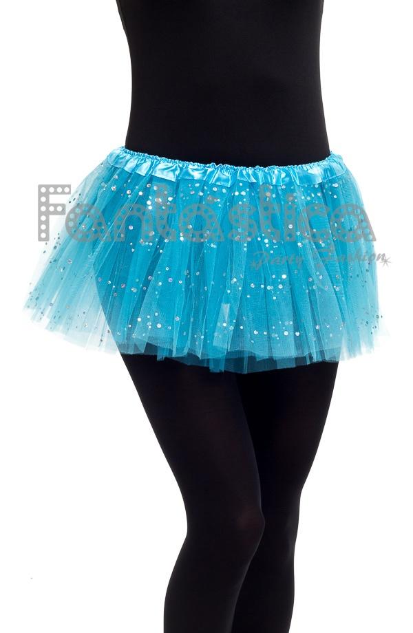 313d95fa0d Falda de Tul para Niña y Mujer Color Azul Turquesa con Brillantitos Strass  I. Tutú de tul azul turquesa con brillantes ideal para ballet