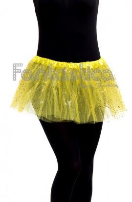 0e274e6460 Tutú para Ballet y Danza - Falda de Tul para Niña y Mujer Color Amarillo  con Brillantitos Strass II. Tutú de tul amarillo con strass ideal para  ballet