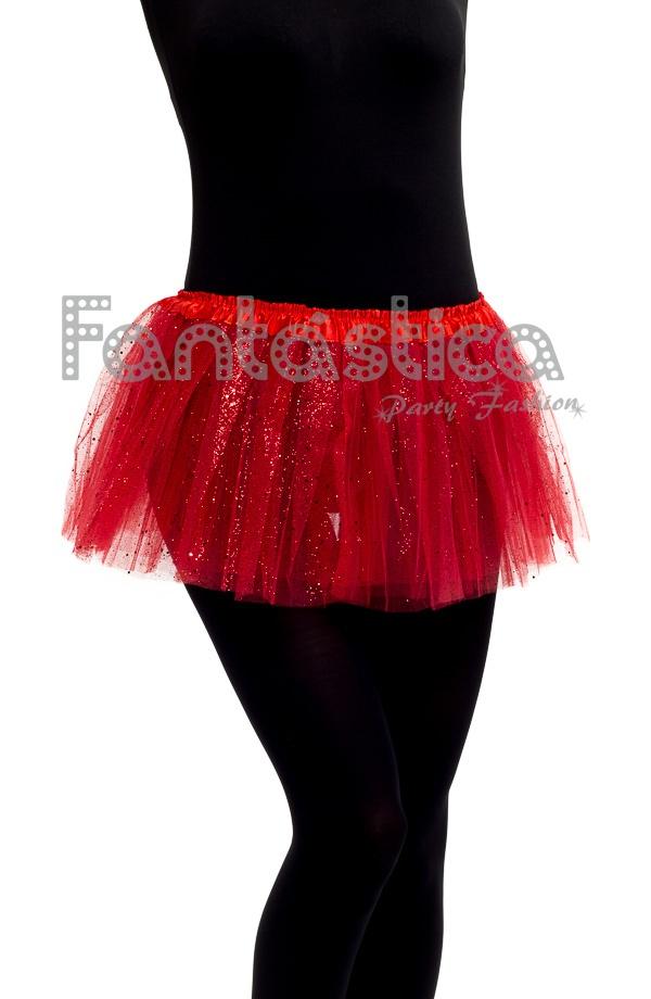 712ba4473b Tutú para Ballet y Danza - Falda de Tul para Niña y Mujer Color Rojo con Brillantitos  Strass II