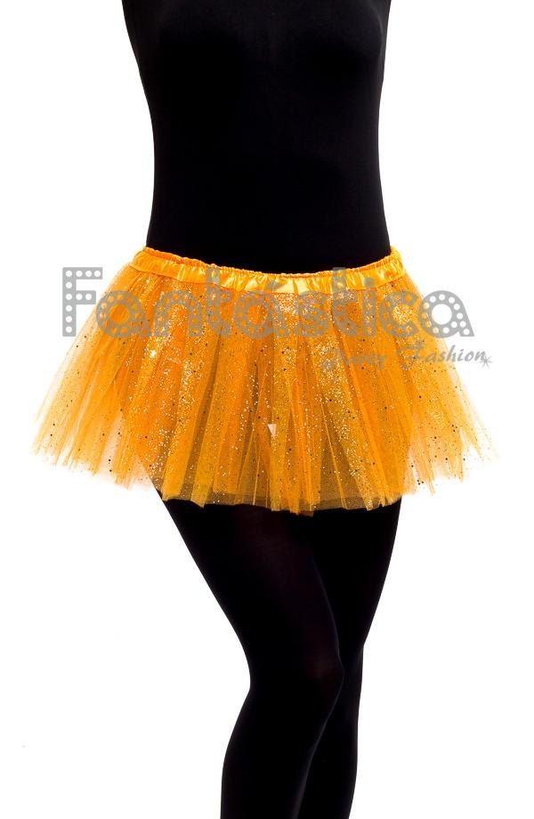 411448029c Falda de Tul para Niña y Mujer Color Naranja con Brillantitos Strass. Tutú  de tul color naranja ideal para ballet