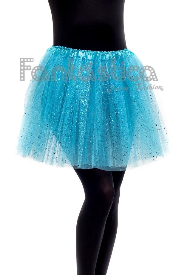 a086df42e0 Tutú para Ballet y Danza - Falda de Tul para Mujer Color Azul Turquesa con Brillantitos  Strass. Falda Tutú color turquesa para niña o mujer