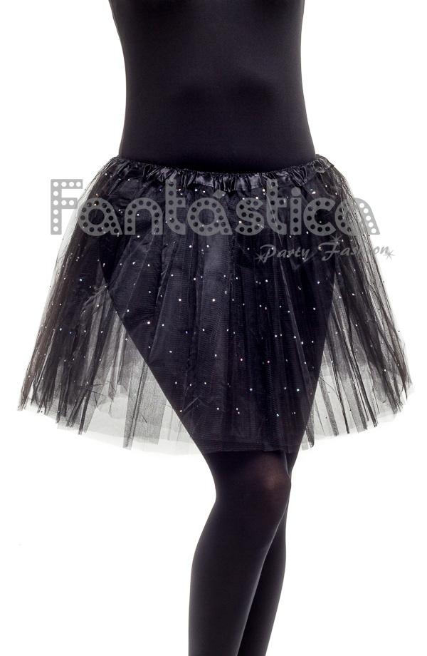 2c8ed9b5ae Tutú para Ballet y Danza - Falda de Tul para Mujer Color Negro con Brillantitos  Strass