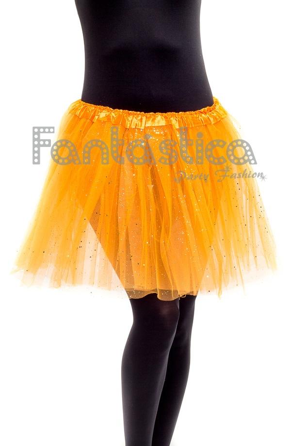 3eb1060c20 Tutú para Ballet y Danza - Falda de Tul para Mujer Color Naranja con Brillantitos  Strass