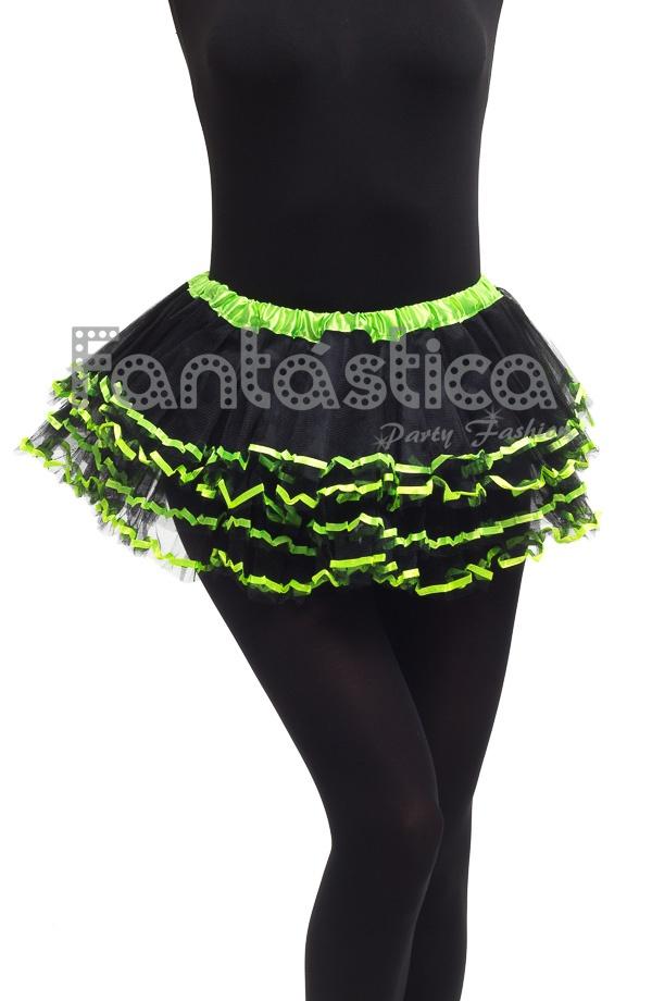 b04c2573c Tutú con Volantes para Niña y Mujer Negro y Verde. Tutú color negro y verde  ideal para ballet, fiestas temáticas, cumpleaños, Carnaval, Halloween, ...