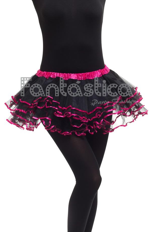 2a6468710 Tutú con Volantes para Niña y Mujer Negro y Fucsia. Tutú color negro y  fucsia ideal para ballet, fiestas temáticas, cumpleaños, Carnaval,  Halloween, ...