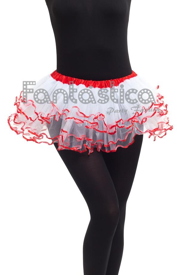 2d0e89f3b Tutú para Ballet y Danza - Falda de Tul con Volantes para Niña y Mujer  Color Blanco y Rojo