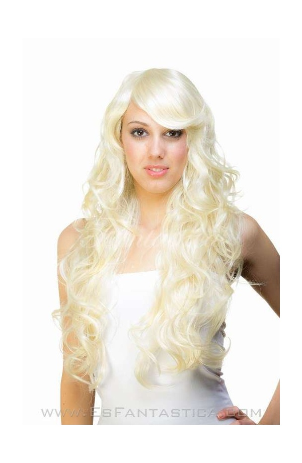 Long Platinum Blonde Curly Wig For Woman Cristina