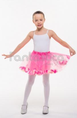 07337531c Tutú para Ballet y Danza - Falda de Tul con Pétalos para Niña Color Fucsia