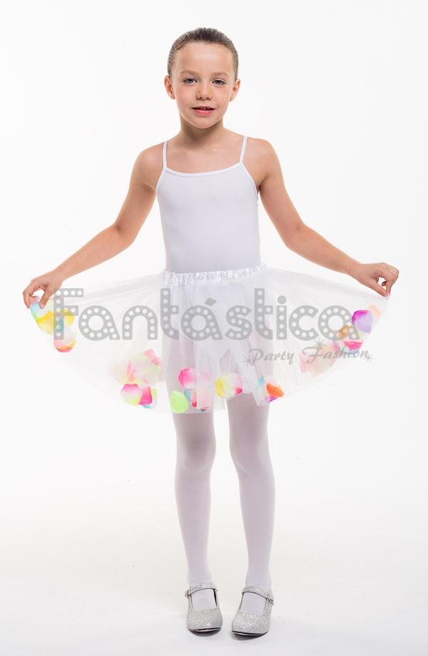 8339abfb6a Tutú para Ballet y Danza - Falda de Tul con Pétalos para Niña Color Blanco.  Falda de tul Blanco para danza y gimnasia. Perfecto para disfraces de  bailarinas ...