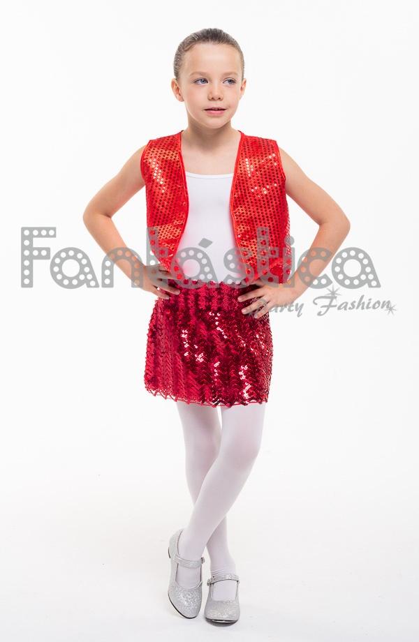 Falda de Lentejuelas para Niña Color Rojo 646e1b28a9e7