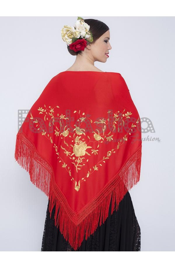 Elegante Mantón de Flamenca para Mujer - Mantón Flamenco para Mujer con  Flores Color Rojo y Amarillo Dorado. Fabuloso Mantón Flamenco color rojo y  amarillo ... 5a6a39d34b7