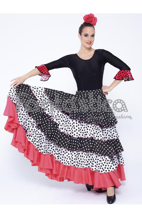 98fa70cbb Falda de Flamenca / Sevillana para Mujer con Volantes y Lunares Blanco,  Negro y Coral