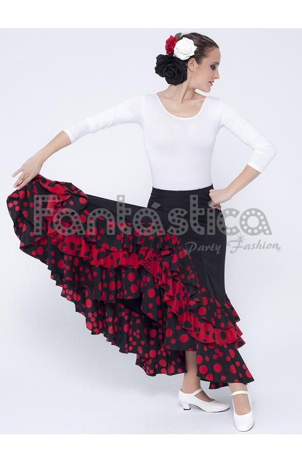 b7921ea03 Falda de Flamenca / Sevillana para Mujer con Volantes Color Negro Lunares  Rojos III