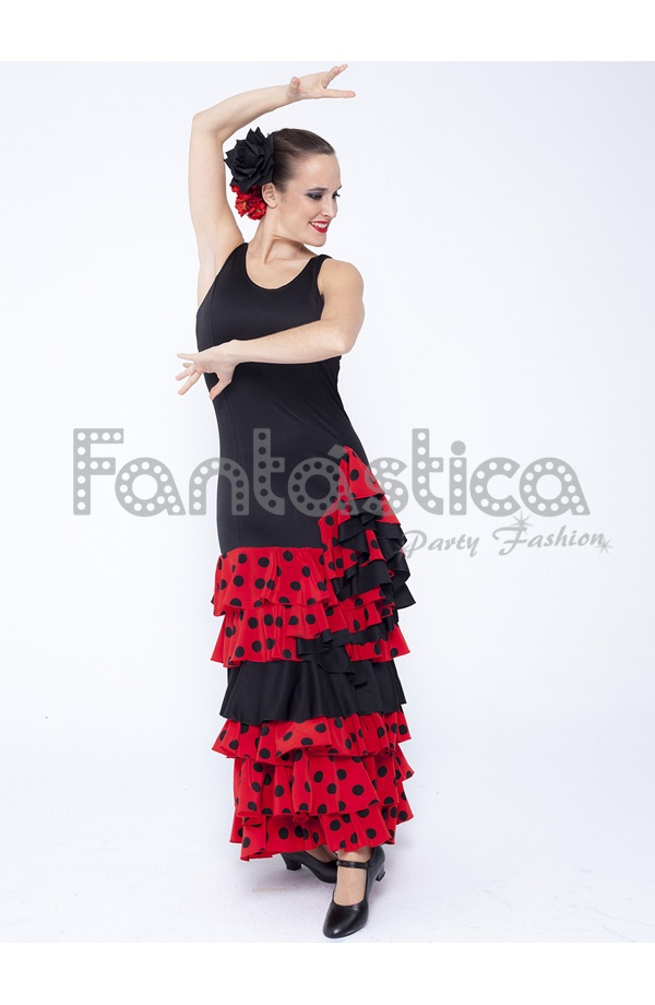 4db566c21 Guapísimo Vestido de Flamenca   Sevillana para Mujer con volantes en la  falda y estampado de lunares color Negro y Rojo. Vestido Flamenco color  negro y rojo ...