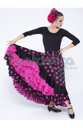 3c8871fcc Falda de Flamenca / Sevillana para Mujer con Volantes y Lunares Fucsia y  Negro